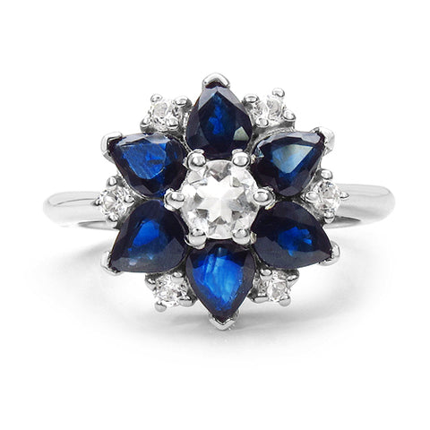 2.88 Carat Genuine Blue Sapphire & White Topaz .925 Sterling Silver Ring