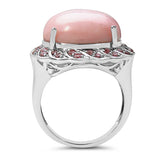 14.59 Carat Genuine Opal & Tourmaline .925 Sterling Silver Ring