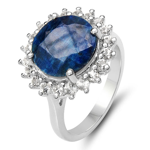 6.20 Carat Genuine Sapphire & White Topaz .925 Sterling Silver Ring