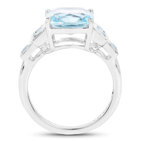 5.17 Carat Genuine Blue Topaz .925 Sterling Silver Ring