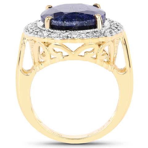 14K Yellow Gold Plated 8.59 Carat Dyed Sapphire and White Topaz .925 Sterling Silver Ring