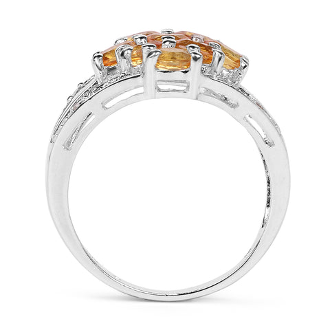 2.03 Carat Genuine Orange Sapphire and White Diamond .925 Sterling Silver Ring