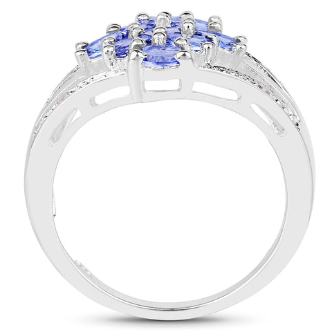 1.59 Carat Genuine Tanzanite and White Topaz .925 Sterling Silver Ring