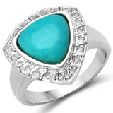 2.22 Carat Genuine Turquoise & White Topaz .925 Sterling Silver Ring