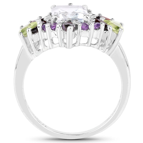 3.25 Carat Genuine Multi Stone .925 Sterling Silver Ring