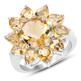 5.50 Carat Genuine Citrine .925 Sterling Silver Ring