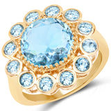 14K Yellow Gold Plated 6.59 Carat Genuine Blue Topaz .925 Sterling Silver Ring