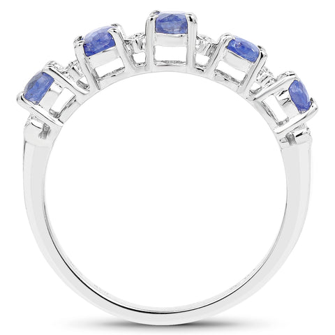 1.11 Carat Glass Filled Sapphire and White Diamond .925 Sterling Silver Ring