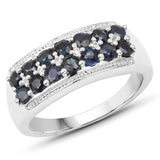 1.15 Carat Genuine Blue Sapphire & White Topaz .925 Sterling Silver Ring