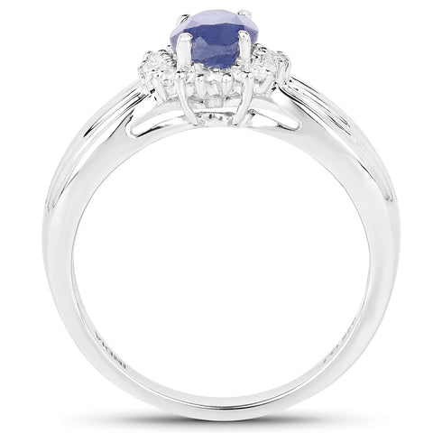 1.10 Carat Genuine Glass Filled Sapphire and White Topaz .925 Sterling Silver Ring