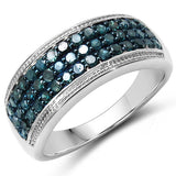0.68 Carat Genuine Blue Diamond .925 Sterling Silver Ring