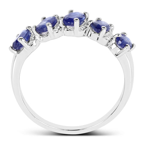 1.75 Carat Genuine Glass Filled Sapphire .925 Sterling Silver Ring