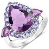 6.59 Carat Genuine Amethyst and Tanzanite .925 Sterling Silver Ring