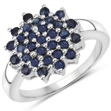 1.24 Carat Genuine Blue Sapphire .925 Sterling Silver Ring