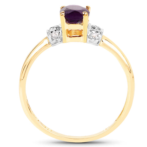 14K Yellow Gold Plated 0.85 Carat Genuine Amethyst and White Topaz .925 Sterling Silver Ring