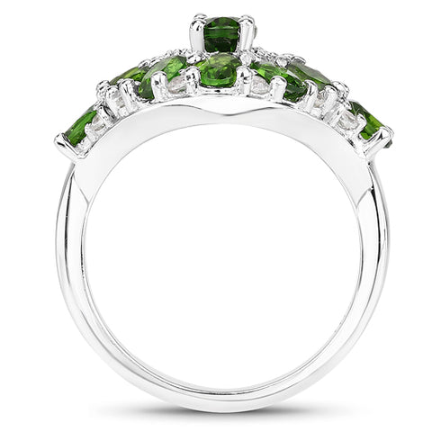 2.77 Carat Genuine Chrome Diopside and White Zircon .925 Sterling Silver Ring