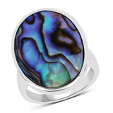 13.80 Carat Genuine Abalone .925 Sterling Silver Ring