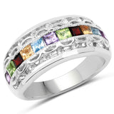1.49 Carat Genuine Multi Stone .925 Sterling Silver Ring