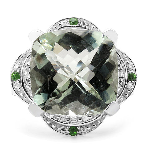 7.28 Carat Genuine Green Amethyst & Chrome Diopside .925 Sterling Silver Ring