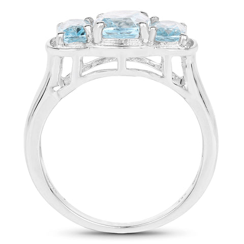 2.71 Carat Genuine Blue Topaz .925 Sterling Silver Ring