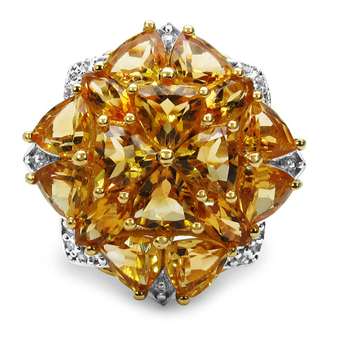 14K Yellow Gold Plated 6.26 Carat Genuine Citrine & White Topaz .925 Sterling Silver Ring