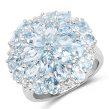5.04 Carat Genuine London Blue Topaz, Blue Topaz & White Topaz .925 Sterling Silver Ring