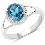 2.13 Carat Genuine London Blue Topaz and White Topaz .925 Sterling Silver Ring