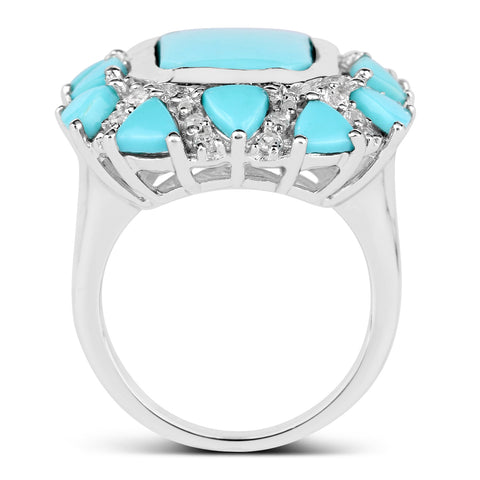 9.37 Carat Genuine Turquoise and White Topaz .925 Sterling Silver Ring