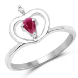0.27 Carat Genuine Ruby & White Diamond .925 Sterling Silver Ring