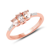 14K Rose Gold Plated 0.56 Carat Genuine Morganite & White Topaz .925 Sterling Silver Ring