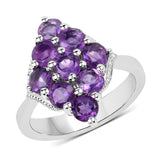 2.16 Carat Genuine Amethyst .925 Sterling Silver Ring