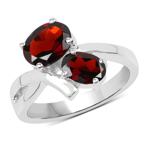 2.55 Carat Genuine Garnet .925 Sterling Silver Ring