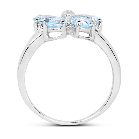 1.27 Carat Genuine Aquamarine & White Topaz .925 Sterling Silver Ring