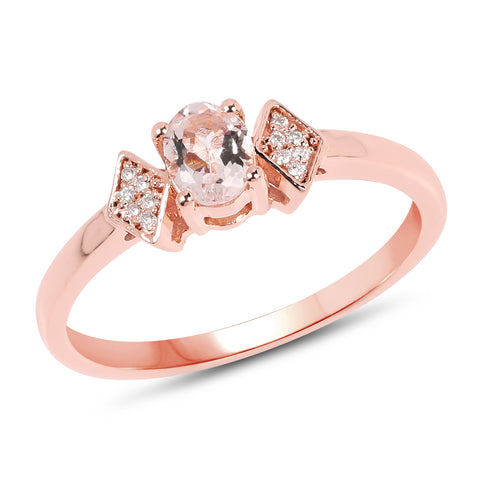 0.29 Carat Genuine Morganite and White Diamond 14K Rose Gold Ring