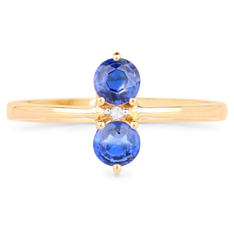 LoveHuang 0.58 Carats Genuine Kyanite and White Diamond (I-J, I2-I3) Twin Ring Solid .925 Sterling Silver With 18KT Yellow Gold Plating