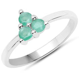 LoveHuang 0.27 Carats Genuine Emerald Ring Solid .925 Sterling Silver With Rhodium Plating