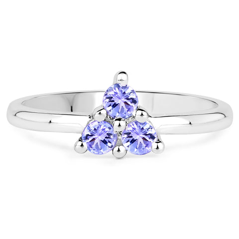 0.30 Carat Genuine Tanzanite .925 Sterling Silver Ring