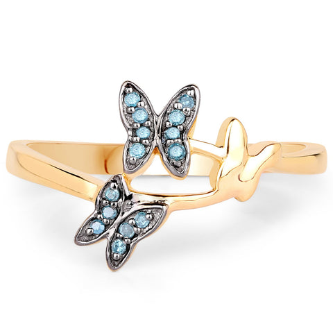 LoveHuang 0.07 Carats Genuine Blue Diamond (I-J, I2-I3) Butterfly Trio Ring Solid .925 Sterling Silver With 18KT Yellow Gold Plating