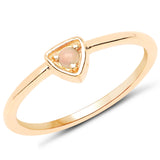 LoveHuang 0.04 Carats Genuine Ethiopian Opal Stacking Ring Solid .925 Sterling Silver With 18KT Yellow Gold Plating