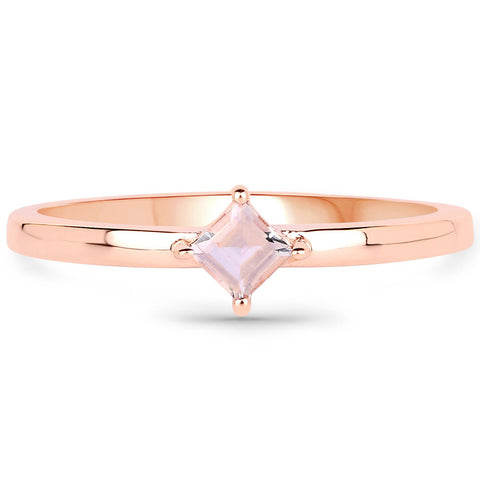 LoveHuang 0.16 Carats Genuine Morganite Stacking Ring Solid .925 Sterling Silver With 18KT Rose Gold Plating
