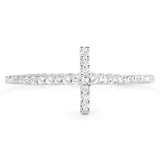 LoveHuang 0.18 Carats Genuine White Topaz Cross Ring Solid .925 Sterling Silver With Rhodium Plating