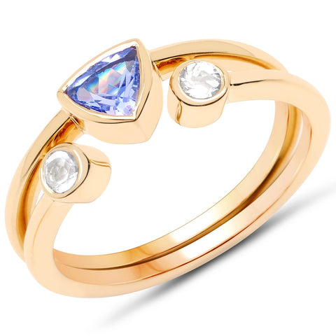 LoveHuang 0.53 Carats Genuine Tanzanite and White Topaz Stacking Ring Set Solid .925 Sterling Silver With 18KT Yellow Gold Plating