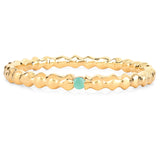 LoveHuang 0.02 Carats Genuine Emerald Stacking Ring Solid .925 Sterling Silver With 18KT Yellow Gold Plating