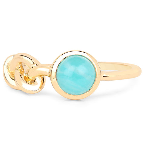 LoveHuang 0.99 Carats Genuine Amazonite Knot Ring Solid .925 Sterling Silver With 18KT Yellow Gold Plating