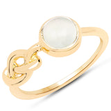 LoveHuang 1.15 Carats Genuine Prehnite Knot Ring Solid .925 Sterling Silver With 18KT Yellow Gold Plating