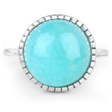 LoveHuang 6.75 Carats Genuine Amazonite Art Deco Ring Solid .925 Sterling Silver With Rhodium Plating