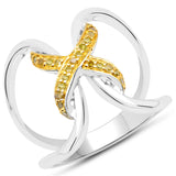 LoveHuang 0.12 Carats Genuine Yellow Diamond (I-J, I2-I3) Bound Ring Solid .925 Sterling Silver With Rhodium Plating