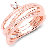 LoveHuang 0.05 Carats Genuine Morganite Wire Ring Solid .925 Sterling Silver With 18KT Rose Gold Plating