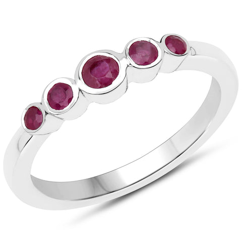 LoveHuang 0.34 Carats Genuine Ruby Stacking Ring Solid .925 Sterling Silver With Rhodium Plating