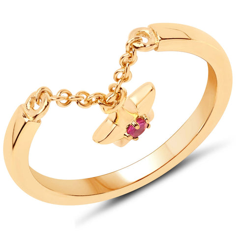 LoveHuang 0.05 Carats Genuine Ruby Star Droplet Ring Solid .925 Sterling Silver With 18KT Yellow Gold Plating